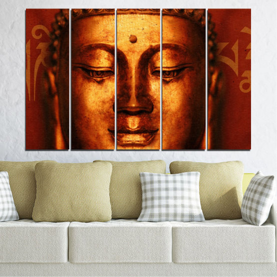 Canvas prints & wall decorative panels - 5 pieces №0006 » Red, Brown, Black » Portrait, Religion, Аsia, Buddha Form #2
