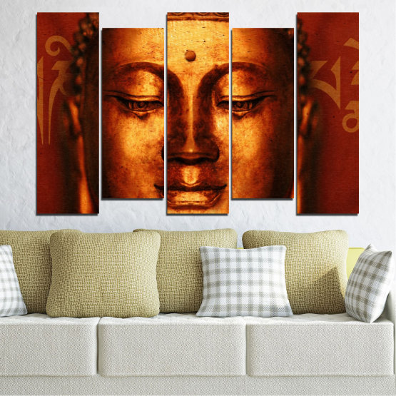 Canvas prints & wall decorative panels - 5 pieces №0006 » Red, Brown, Black » Portrait, Religion, Аsia, Buddha Form #3