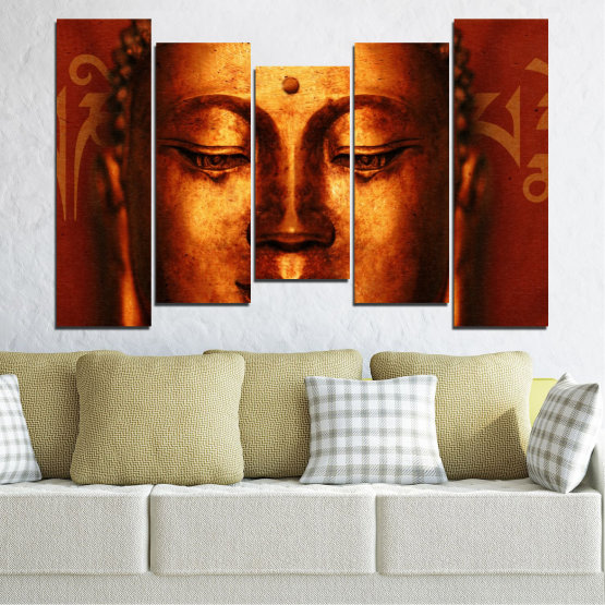 Canvas prints & wall decorative panels - 5 pieces №0006 » Red, Brown, Black » Portrait, Religion, Аsia, Buddha Form #4