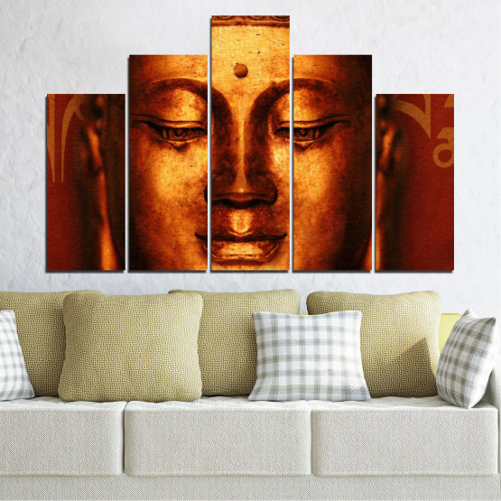 Canvas prints & wall decorative panels - 5 pieces №0006 » Red, Brown, Black » Portrait, Religion, Аsia, Buddha Form #5