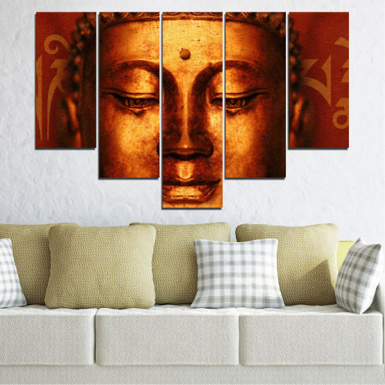 Canvas prints & wall decorative panels - 5 pieces №0006 » Red, Brown, Black » Portrait, Religion, Аsia, Buddha Form #6