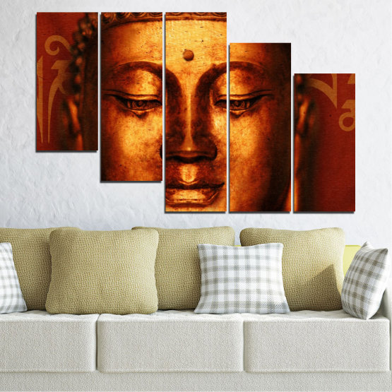 Canvas prints & wall decorative panels - 5 pieces №0006 » Red, Brown, Black » Portrait, Religion, Аsia, Buddha Form #7