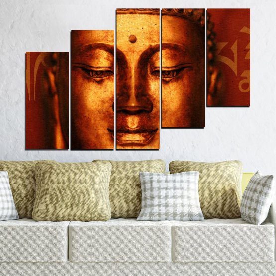 Canvas prints & wall decorative panels - 5 pieces №0006 » Red, Brown, Black » Portrait, Religion, Аsia, Buddha Form #8