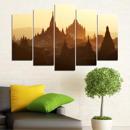 Canvas prints & wall decorative panels - 5 pieces №0060 » Brown, Black, White, Beige » City, Castle, Temple Form #1
