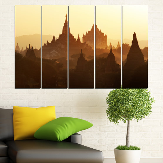 Canvas prints & wall decorative panels - 5 pieces №0060 » Brown, Black, White, Beige » City, Castle, Temple Form #2