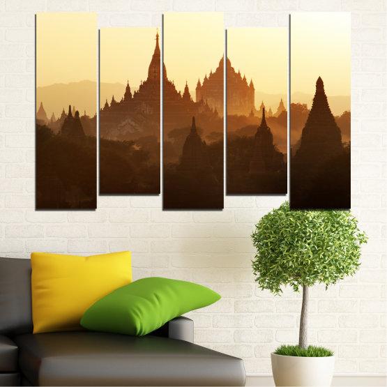 Canvas prints & wall decorative panels - 5 pieces №0060 » Brown, Black, White, Beige » City, Castle, Temple Form #3