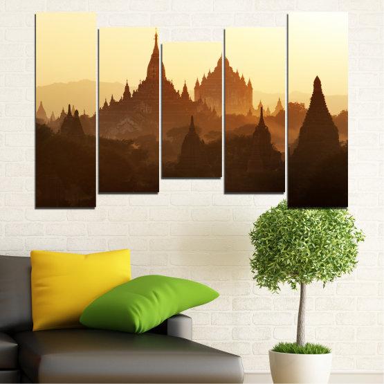 Canvas prints & wall decorative panels - 5 pieces №0060 » Brown, Black, White, Beige » City, Castle, Temple Form #4