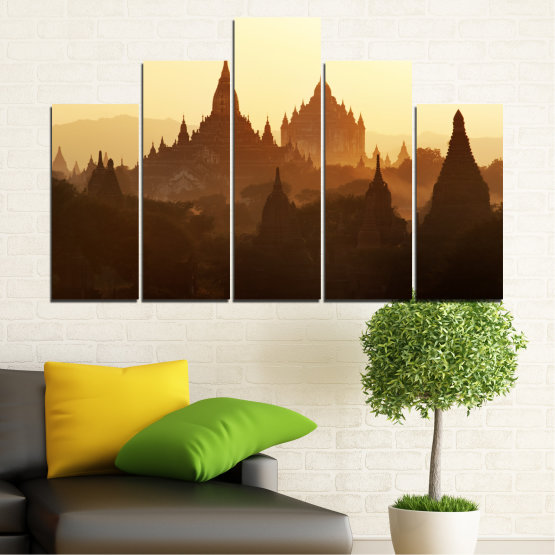 Canvas prints & wall decorative panels - 5 pieces №0060 » Brown, Black, White, Beige » City, Castle, Temple Form #5