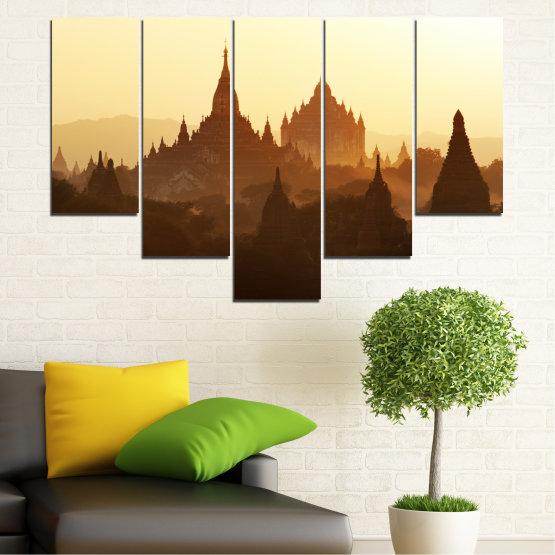 Canvas prints & wall decorative panels - 5 pieces №0060 » Brown, Black, White, Beige » City, Castle, Temple Form #6
