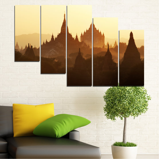 Canvas prints & wall decorative panels - 5 pieces №0060 » Brown, Black, White, Beige » City, Castle, Temple Form #7