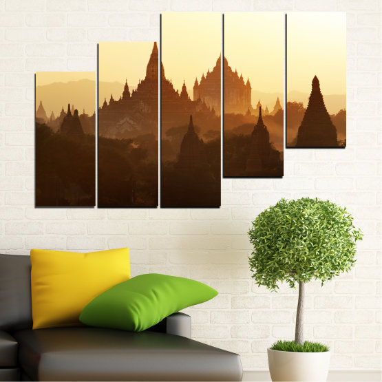 Canvas prints & wall decorative panels - 5 pieces №0060 » Brown, Black, White, Beige » City, Castle, Temple Form #8