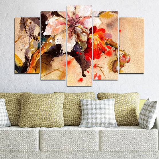 Canvas prints & wall decorative panels - 5 pieces №0600 » Orange, Brown, Gray, Beige » Flowers, Drawing, Chinese rose Form #1