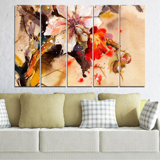 Canvas prints & wall decorative panels - 5 pieces №0600 » Orange, Brown, Gray, Beige » Flowers, Drawing, Chinese rose Form #2