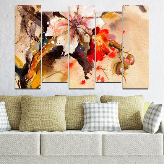 Canvas prints & wall decorative panels - 5 pieces №0600 » Orange, Brown, Gray, Beige » Flowers, Drawing, Chinese rose Form #3