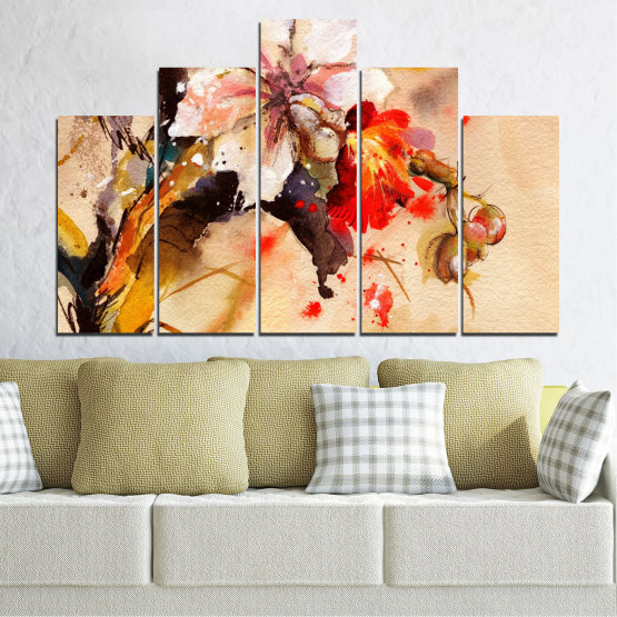 Canvas prints & wall decorative panels - 5 pieces №0600 » Orange, Brown, Gray, Beige » Flowers, Drawing, Chinese rose Form #5