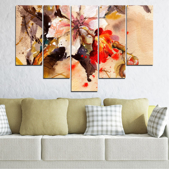 Canvas prints & wall decorative panels - 5 pieces №0600 » Orange, Brown, Gray, Beige » Flowers, Drawing, Chinese rose Form #6