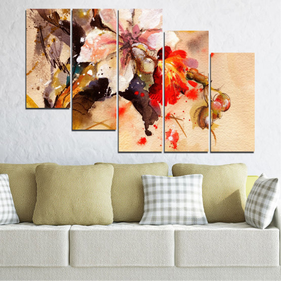 Canvas prints & wall decorative panels - 5 pieces №0600 » Orange, Brown, Gray, Beige » Flowers, Drawing, Chinese rose Form #7