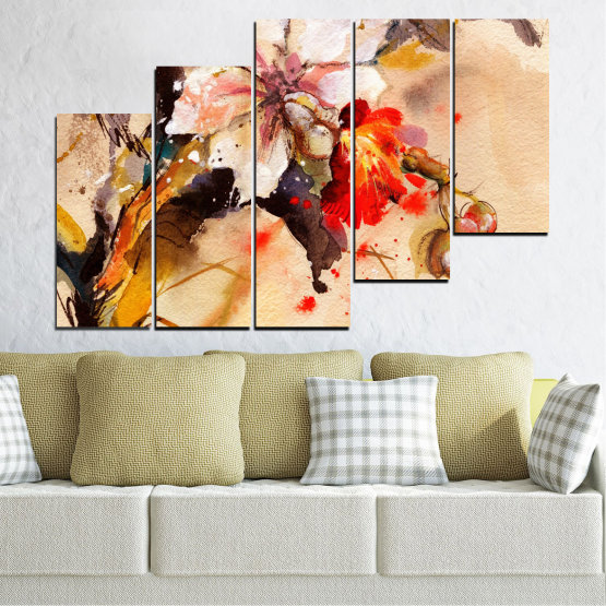 Canvas prints & wall decorative panels - 5 pieces №0600 » Orange, Brown, Gray, Beige » Flowers, Drawing, Chinese rose Form #8