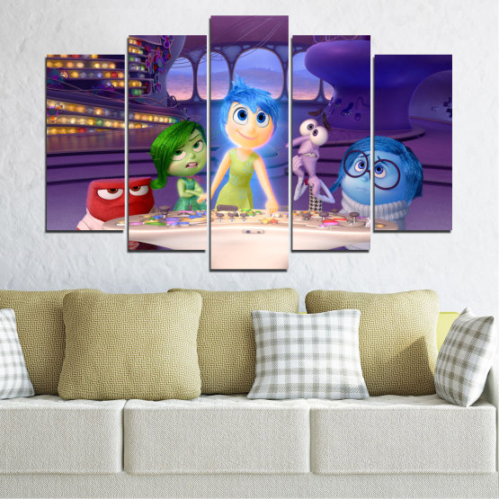 Canvas prints & wall decorative panels - 5 pieces №0603 » Purple, Blue, Gray, Beige, Dark grey » Children, Inside-out, Animated, Disney Form #1