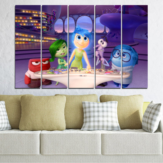 Canvas prints & wall decorative panels - 5 pieces №0603 » Purple, Blue, Gray, Beige, Dark grey » Children, Inside-out, Animated, Disney Form #2