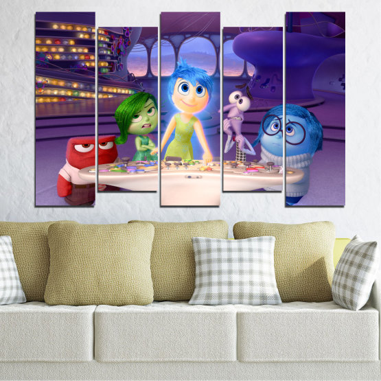 Canvas prints & wall decorative panels - 5 pieces №0603 » Purple, Blue, Gray, Beige, Dark grey » Children, Inside-out, Animated, Disney Form #3