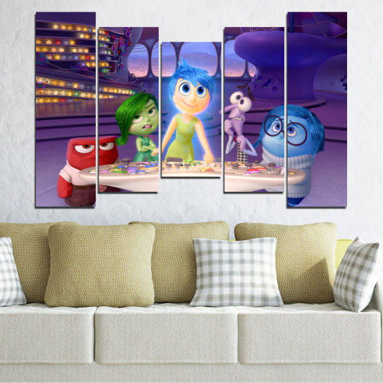 Canvas prints & wall decorative panels - 5 pieces №0603 » Purple, Blue, Gray, Beige, Dark grey » Children, Inside-out, Animated, Disney Form #4