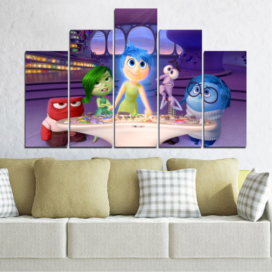 Canvas prints & wall decorative panels - 5 pieces №0603 » Purple, Blue, Gray, Beige, Dark grey » Children, Inside-out, Animated, Disney Form #5