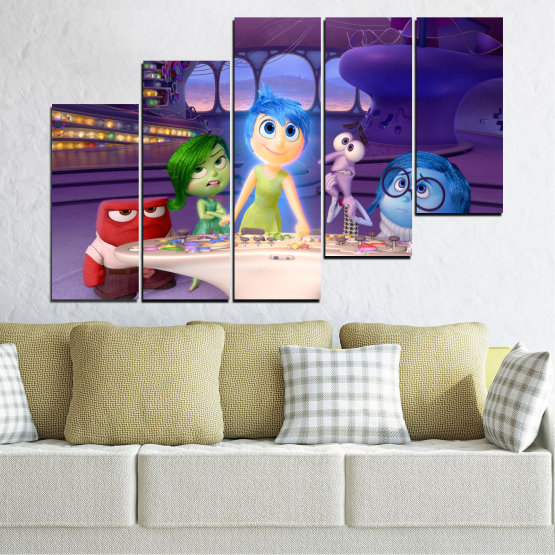 Canvas prints & wall decorative panels - 5 pieces №0603 » Purple, Blue, Gray, Beige, Dark grey » Children, Inside-out, Animated, Disney Form #8