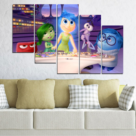 Canvas prints & wall decorative panels - 5 pieces №0603 » Purple, Blue, Gray, Beige, Dark grey » Children, Inside-out, Animated, Disney Form #7