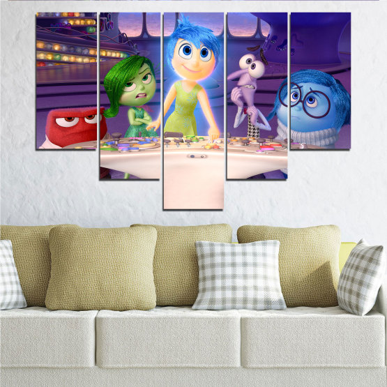 Canvas prints & wall decorative panels - 5 pieces №0603 » Purple, Blue, Gray, Beige, Dark grey » Children, Inside-out, Animated, Disney Form #6