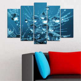 Abstraction, Water, Drops » Blue, Turquoise, Dark grey