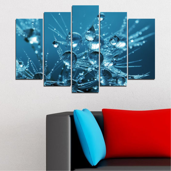 Canvas prints & wall decorative panels - 5 pieces №0608 » Blue, Turquoise, Dark grey » Abstraction, Water, Drops Form #1