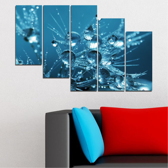 Canvas prints & wall decorative panels - 5 pieces №0608 » Blue, Turquoise, Dark grey » Abstraction, Water, Drops Form #7