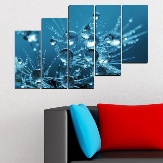 Canvas prints & wall decorative panels - 5 pieces №0608 » Blue, Turquoise, Dark grey » Abstraction, Water, Drops Form #8