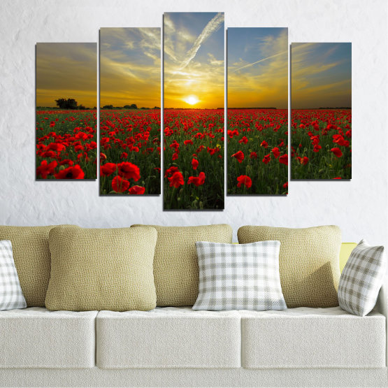 Canvas prints & wall decorative panels - 5 pieces №0609 » Red, Green, Brown, Black, Gray » Flowers, Sun, Poppy, Field Form #1