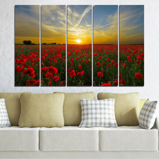 Canvas prints & wall decorative panels - 5 pieces №0609 » Red, Green, Brown, Black, Gray » Flowers, Sun, Poppy, Field Form #2