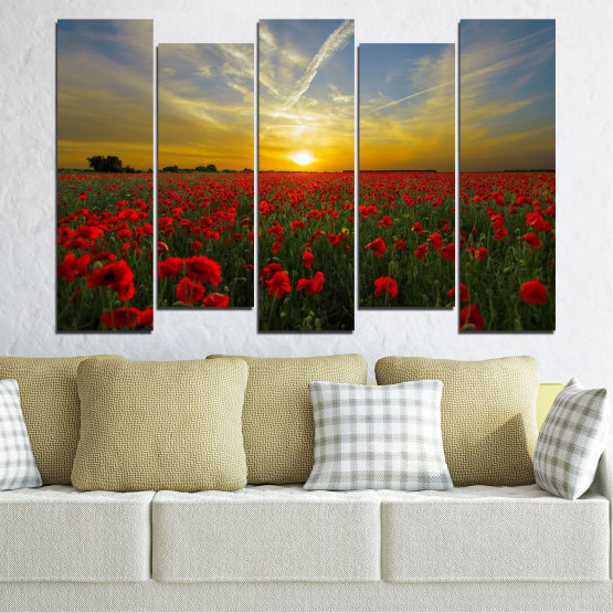Canvas prints & wall decorative panels - 5 pieces №0609 » Red, Green, Brown, Black, Gray » Flowers, Sun, Poppy, Field Form #3