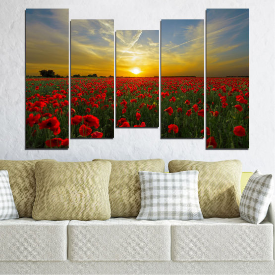 Canvas prints & wall decorative panels - 5 pieces №0609 » Red, Green, Brown, Black, Gray » Flowers, Sun, Poppy, Field Form #4