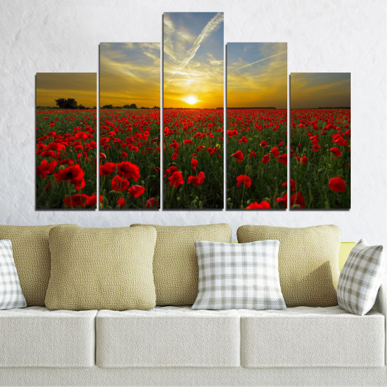 Canvas prints & wall decorative panels - 5 pieces №0609 » Red, Green, Brown, Black, Gray » Flowers, Sun, Poppy, Field Form #5