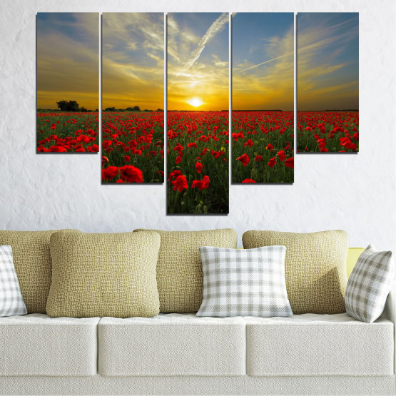Canvas prints & wall decorative panels - 5 pieces №0609 » Red, Green, Brown, Black, Gray » Flowers, Sun, Poppy, Field Form #6