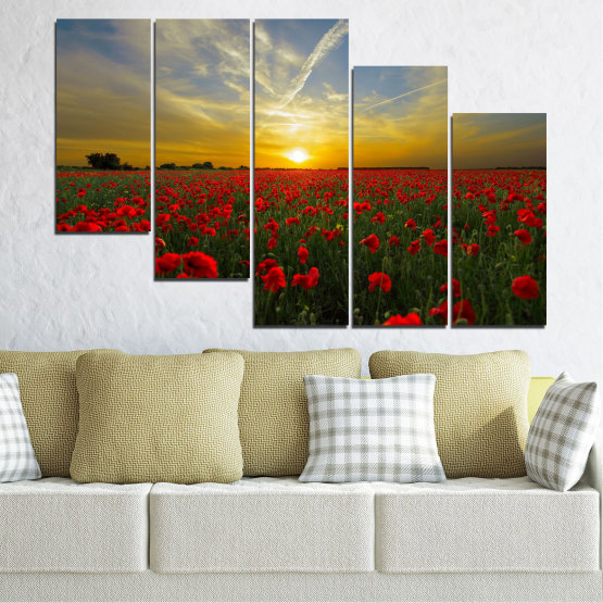 Canvas prints & wall decorative panels - 5 pieces №0609 » Red, Green, Brown, Black, Gray » Flowers, Sun, Poppy, Field Form #7