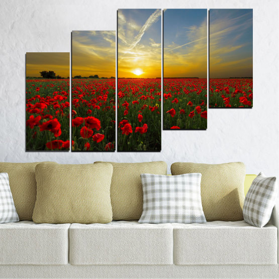 Canvas prints & wall decorative panels - 5 pieces №0609 » Red, Green, Brown, Black, Gray » Flowers, Sun, Poppy, Field Form #8