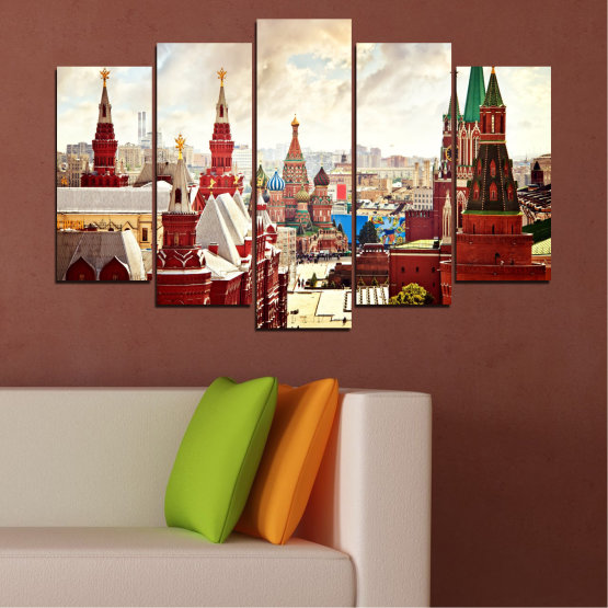 Canvas prints & wall decorative panels - 5 pieces №0061 » Red, Gray, White, Beige » City, Landmark, Russia, Red square Form #1