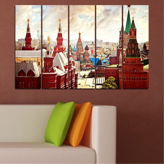 Canvas prints & wall decorative panels - 5 pieces №0061 » Red, Gray, White, Beige » City, Landmark, Russia, Red square Form #2