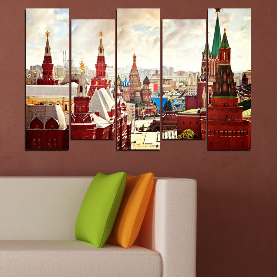 Canvas prints & wall decorative panels - 5 pieces №0061 » Red, Gray, White, Beige » City, Landmark, Russia, Red square Form #3