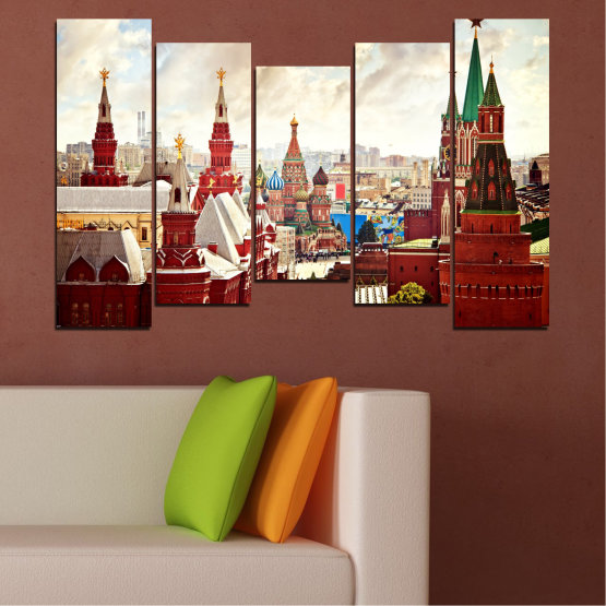 Canvas prints & wall decorative panels - 5 pieces №0061 » Red, Gray, White, Beige » City, Landmark, Russia, Red square Form #4
