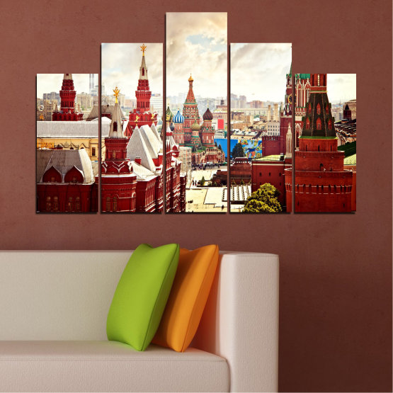 Canvas prints & wall decorative panels - 5 pieces №0061 » Red, Gray, White, Beige » City, Landmark, Russia, Red square Form #5