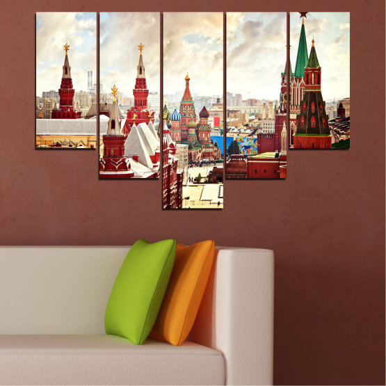 Canvas prints & wall decorative panels - 5 pieces №0061 » Red, Gray, White, Beige » City, Landmark, Russia, Red square Form #6