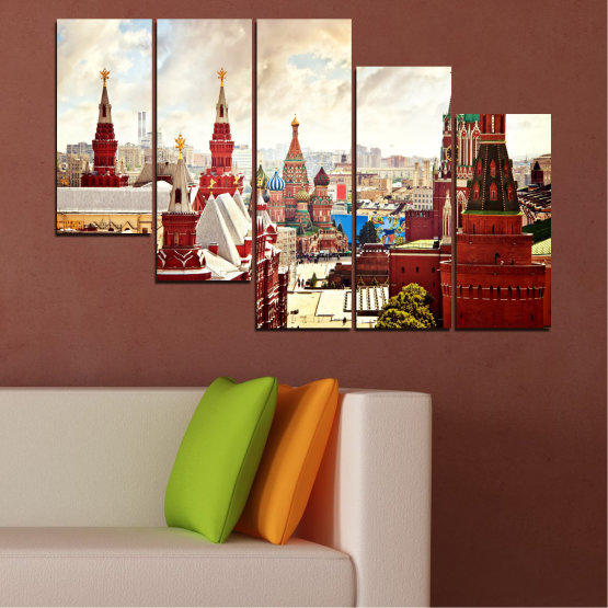 Canvas prints & wall decorative panels - 5 pieces №0061 » Red, Gray, White, Beige » City, Landmark, Russia, Red square Form #7