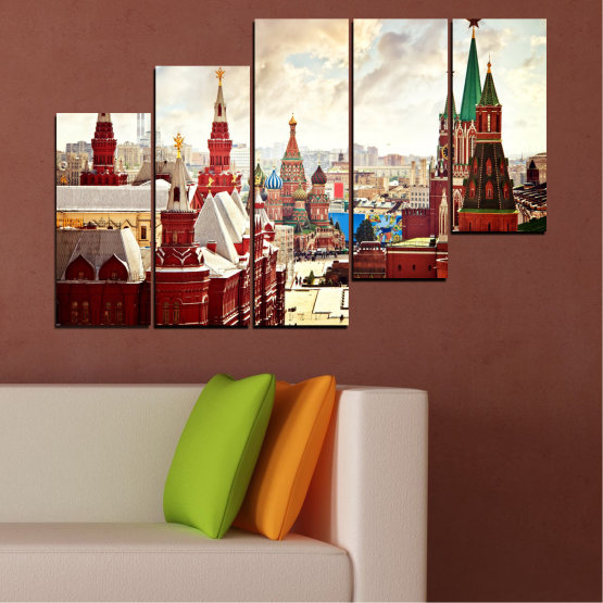 Canvas prints & wall decorative panels - 5 pieces №0061 » Red, Gray, White, Beige » City, Landmark, Russia, Red square Form #8